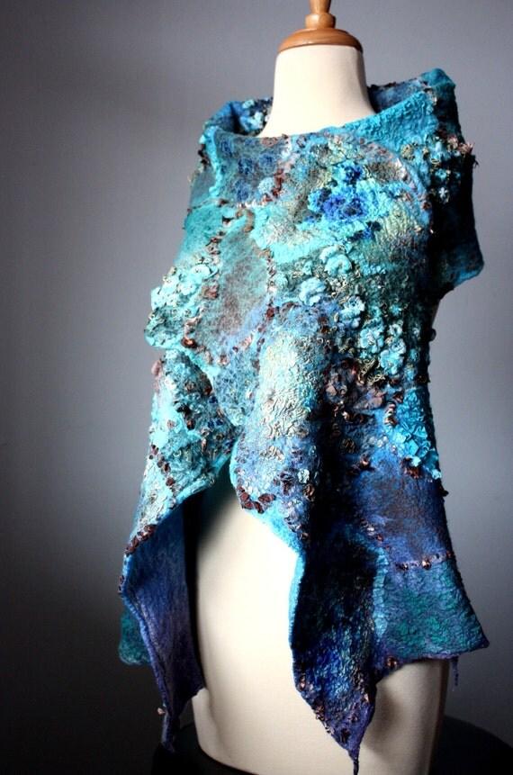 Felted scarf  Wool Bamboo Silk  Blue Brown floral  shawl MOOD INDIGO