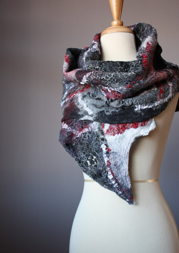 Felted scarf  Wool Bamboo Silk  Charcoal Grey  Black Red Collage Abstract Contemporary Original Modern Art