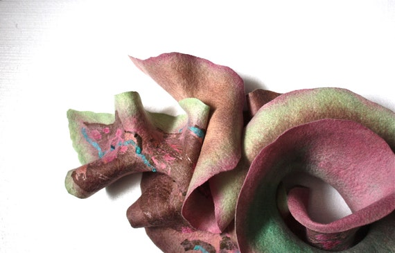 Nuno Felted scarf  Wool  Silk Powder Pink / Mint / Taupe / Beige collage Abstract Contemporary Original Modern Art