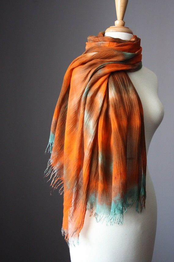 Long Handdyed cotton scarf / shawl / Beach Pareo / Sarong summer spring  fringy edge  rust teal green  super light
