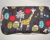 Designer Travel Wipes Case with Diaper Strap- Giraffe Garden in Grey
