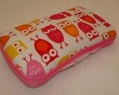 Designer Travel Wipes Case with Diaper Strap- Pink /Orange Owls on White