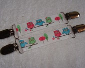 Mitten Clips for Cool Kids- Fun Owls on White