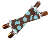 Mitten Clips for Cool Kids - Brown with Blue Dots