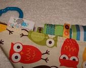 Sensory Rag Security Blanket Lap Blanket with Tags: Bermuda owls