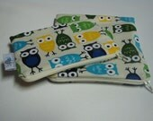 Reusable Machine Washable Zippered BPA-Free Snack-Loc Large Sandwich Small Snack Bag Set - Owls Blue Green Yellow