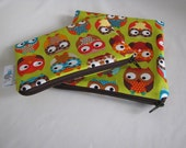 ZIPPERED BPA-Free Snack-Loc Bag SET - Owls on Lime