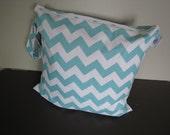 Large Heat Sealed Wet Swim Cloth Diaper Reusable Plastic Bag with SNAP handle - Chevron in Aqua