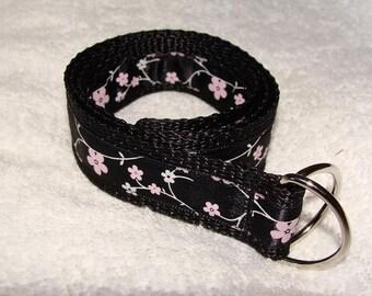 Pink and White Flowered D-Ring Belt- Children's belt