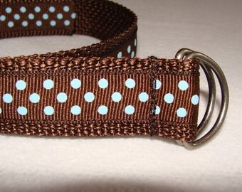 Children's Brown with Small Blue Dots D Ring Belt- You pick the SIZE
