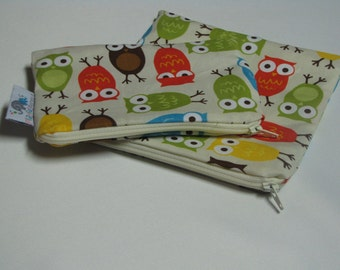 Reusable Machine Washable Zippered BPA-Free Snack-Loc Large Sandwich Small Snack Bag Set - Owls Bermuda Brown Green Blue Gender Neutral