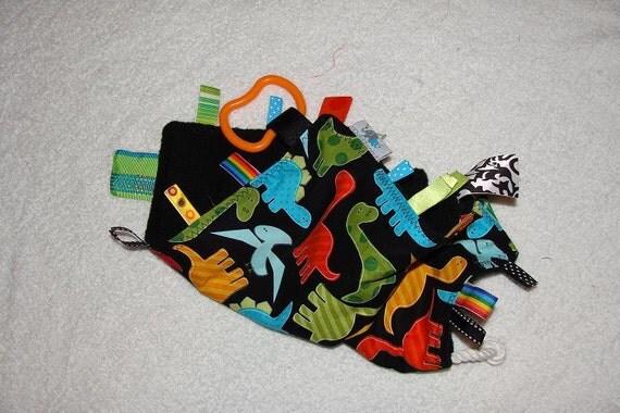 Sensory Toy Tag Blanket Lap Blanket: Dinos on Black
