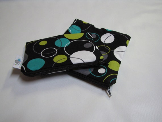 Reusable Machine Washable Zippered BPA-Free Snack-Loc Large Sandwich Small Snack Bag Set - Hoopla Dot Lagoon Black Turquoise Polka Dot