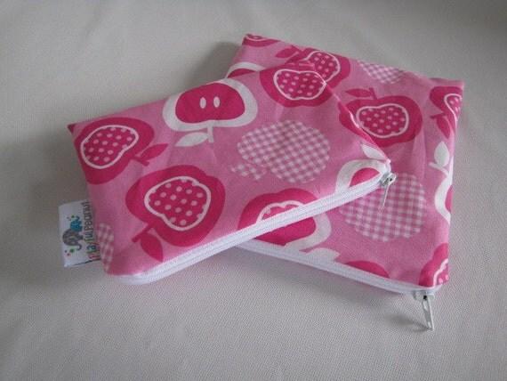 ZIPPERED BPA-Free Snack-Loc Bag SET - Apples on Pink