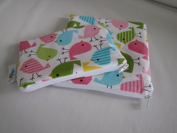 Reusable Machine Washable Zippered BPA-Free Snack-Loc Large Sandwich Small Snack Bag Set - Birds Spring Turquoise Pink Green