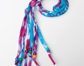 recycled tie-dye braid - pink/turquoise/purple