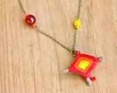 God's Eye Necklace - red, orange, yellow