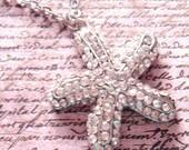 Starfish Necklace - Summer fashion - Beach theme - Rhinestones pendant - gift mom, daughter, girlfriend, bridesmaids.