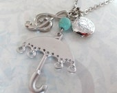 Singing in the Rain Necklace. Umbrella, Music and Locket Charms.