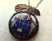 World Peace. Globe Cameo with Key, Peace Sign and Leaf Charms Necklace.