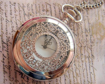 Vintage Lace. LARGE Pocket Watch Necklace. (Silver Tone)