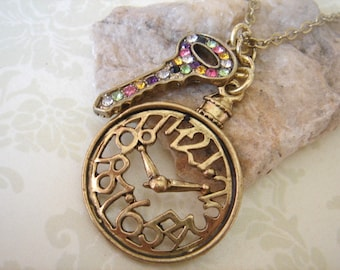 To Wonderland. Clock and Key Necklace.