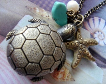 Under the Sea. Turtle Pocket Watch with Charms Necklace. (Bronze)