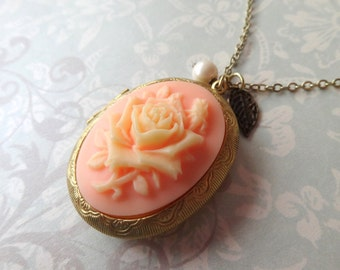 Victorian Garden. Rose Cameo Locket Necklace with Pearl and Leaf Charm. Choose Your Cameo Color.