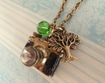 Snapshots of Nature. Camera Necklace with Tree Charm.