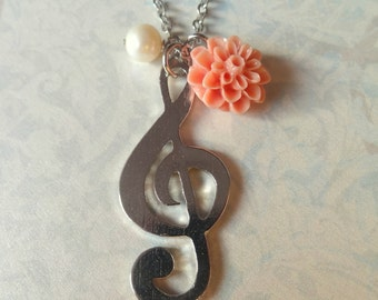 G-Clef Music Charm Necklace with Peach Flower and Pearl - Gift for wife, girlfriend, bridesmaids, best friend, birthday, anniversary
