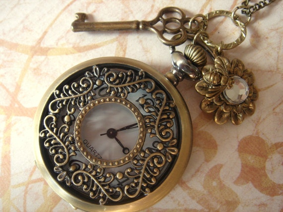 Welcome to My Garden. Vintage Style Pocket Watch Necklace with Key and Bee on Flower Charms. (LARGE Size)