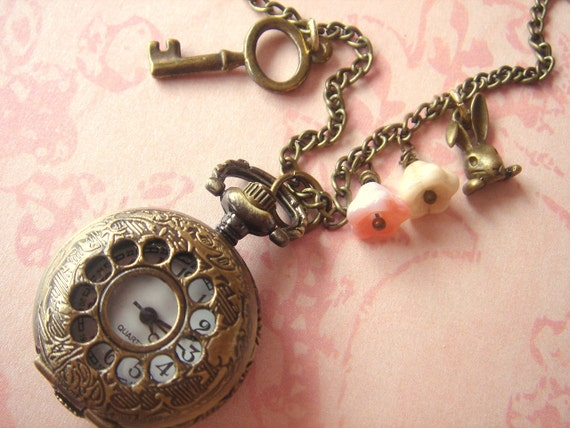 I'm Late I'm Late. Alice in Wonderland Inspired Whimsical Pocket Watch Necklace.