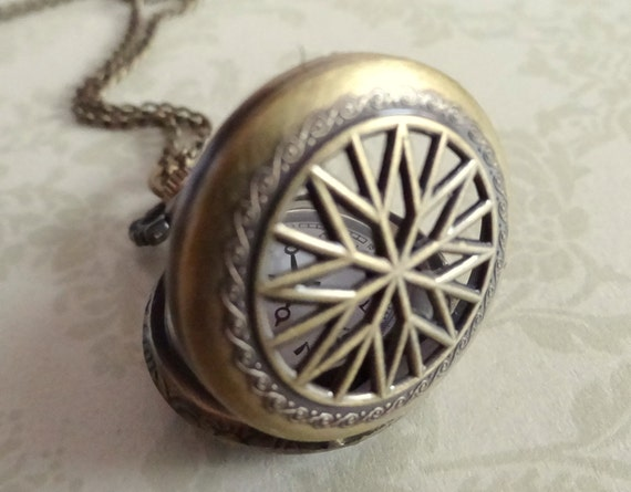 Sunburst. Vintage Pocket Watch Necklace in Bronze.