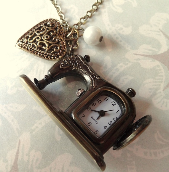 Sewing Time. Vintage Style Sewing Machine Watch Necklace with Charms. Antique Brass Tone.