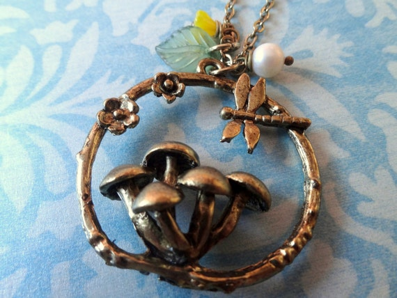 Mushroom Garden Necklace. Antiqued Brass Tone.