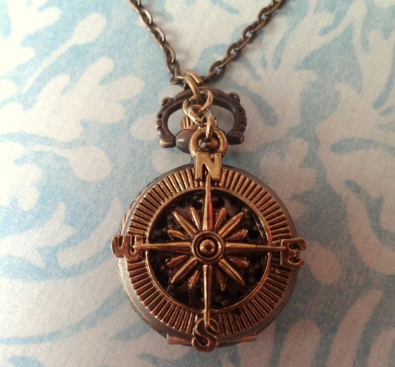 Steampunk Pocket Watch with Compass Charm Necklace.