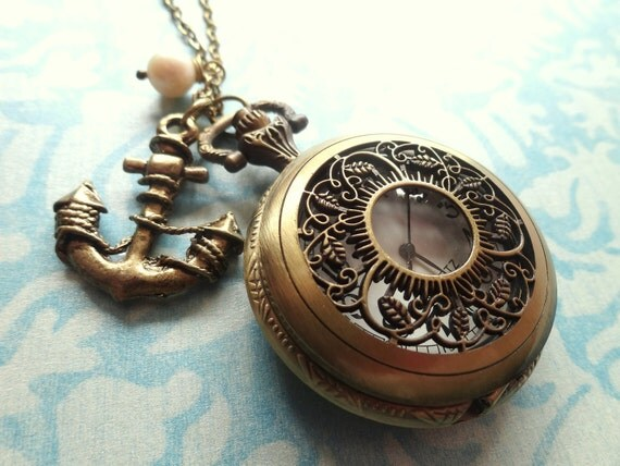 Time to Sail Away. Large Vintage Inspired Pocket Watch Necklace with Anchor Charm and Faux Pearl.