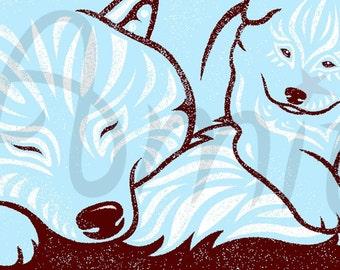 samoyed mom and pup