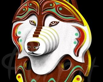 3d siberian husky head