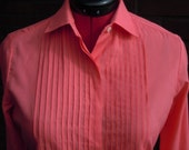 Vintage 70s 80s  coral pink blouse sz  S to M