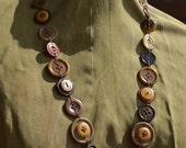 "Vintage and Recycled Buttons and Beads Necklace Brown 32"" 80 cm"