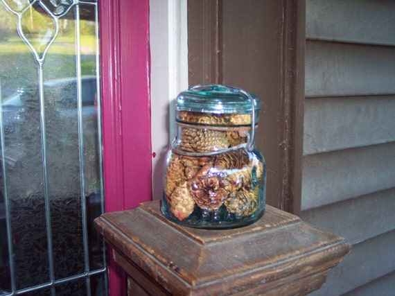 Antique One Half Pint Blue Atlas Canning Jar Full of Scented Pinecones from Rustysecrets