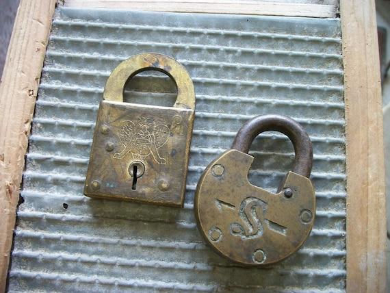 SALE - One Half Price -Two Large Antique Brass Padlocks from Rustysecrets
