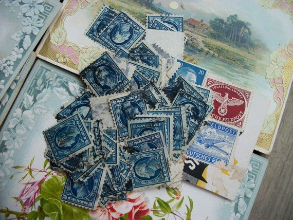 Vintage Lot of Old Blue US Five Cent Postage Stamps from Rustysecrets
