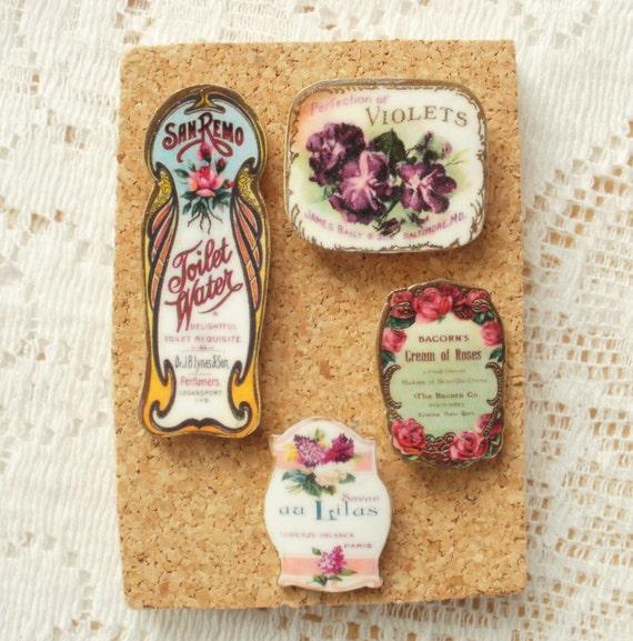 Vintage Perfume Label Image Mini Set of Thumbtacks / Push Pins