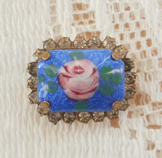 Cornflower Blue Guilloche with Pink Rose and Rhinestone Pin