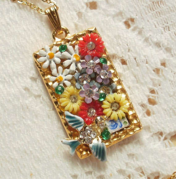 Sunny Flower Garden Vintage Jewelry Pieces Collage / Montage Pendant / Necklace