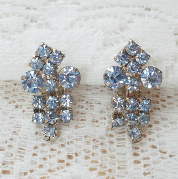Sparkling Light Blue Rhinestone Earrings