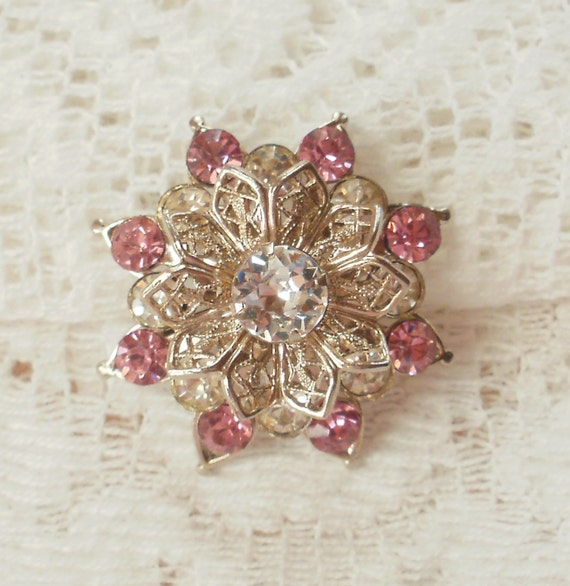 Sweet and Shabby Pink and Clear Rhinestone Flower Pin