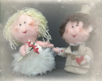 Custom wedding cake topper made to order - bride and groom handmade felt dolls for wedding, anniversary